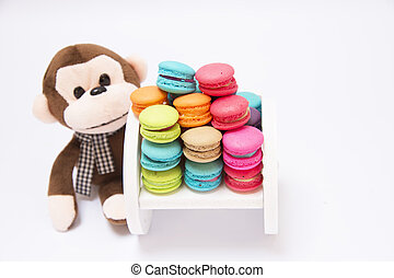 Stuffed monkey with candy - Monkey doll with hair of the...