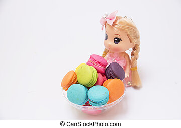 Woman doll Buttercream Macaron Background for display or...