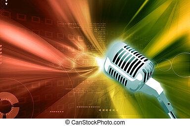 Microphone - Illustration of a Metallic microphone in floral...