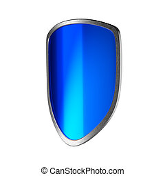 Blue shield isolated on the white background