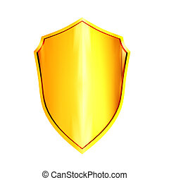 Gold shield isolated on the white background
