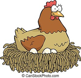 Chicken and eggs - Cartoon hen incubates the eggs vector...