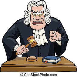 Cartoon judge accuses on a white background vector...