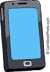 Cartoon doodle smartphone on a white background vector...