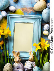 art Happy Easter Day; family Easter bunny and Easter eggs