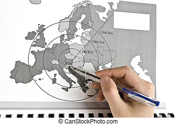 Wien - The Center of Europe on map