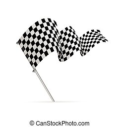 Single Checkered Racing Flag Avto. Vector