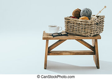 Leisure time, knitting with a cup of coffee - Leisure time,...