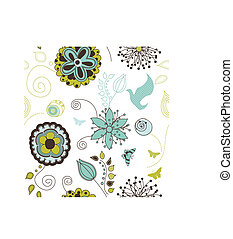 Seamless Retro Style Nature Pattern - A cool retro floral...