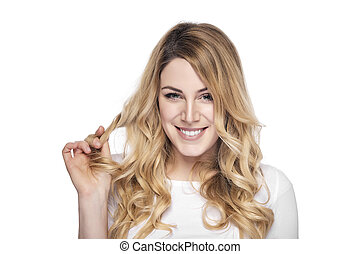 Blonde smiling woman on white background - Attractive blonde...