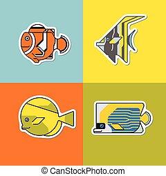 set of stylized fish