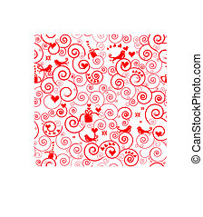 Seamless Heart and Birds Pattern - A swirly seamless pattern...