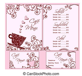 Cute Pink Cafe Menu and Business Card Templates, Both Back...