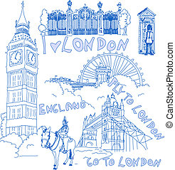 London Handdrawn Doodles - Set of famous London Landmarks in...