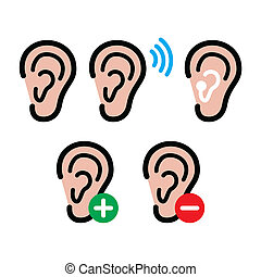 Ear hearing aid, deaf person - heal - Hearing problem icons...