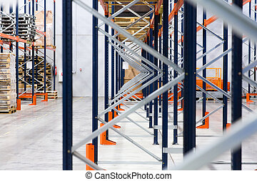 warehouse shelves or constructions with cargo