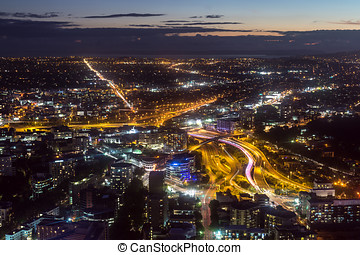 auckland night view - auckland city night view taken from...