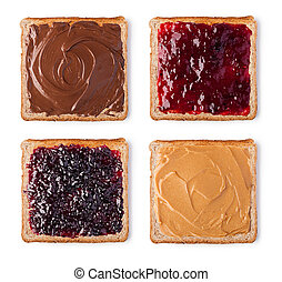 Toast with Chocolate, butter peanut and jam. Isolated on a...