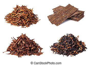 dried smoking tobacco - set dried smoking tobacco. Isolated...