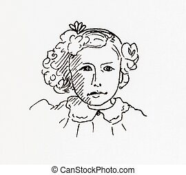 Original ink line drawing. Portrait of an Edwardian girl....