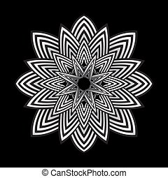 optical art abstract striped flower illustration