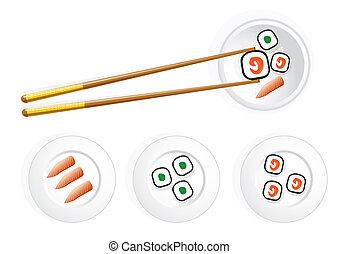 Japanese sushi - an illustration on japanese sushi subject