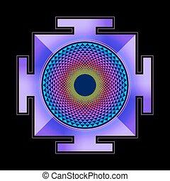 colored Sahasrara yantra illustration - vector colored...