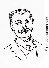 Original ink line drawing. Portrait of an Edwardian...