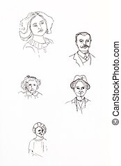 Original ink line drawings. Collection of vintage portraits....