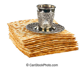 passover matzo with kiddush cup of wine isolated on white...