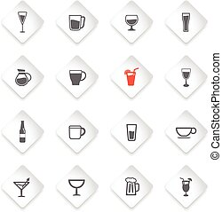 Glasses and cups simply icons - Food and kitchen simple...