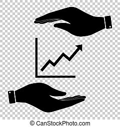 Growing bars graphic sign. Save or protect symbol by hands.