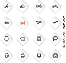 Transport mode icons - Flat paper icons for web sites and...