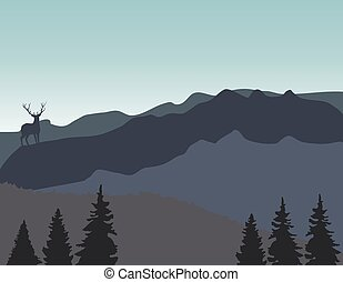 mountains background with deer