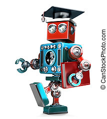 Graduating Robot in grad hat with book. Isolated. Contains...