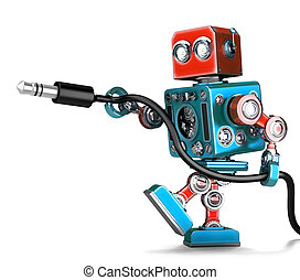 Retro Robot with stereo audio jack. Isolated. Contains...