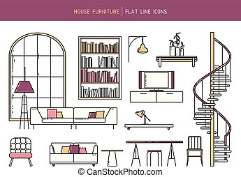 Flat line furniture set - Vector flat line furniture set of...