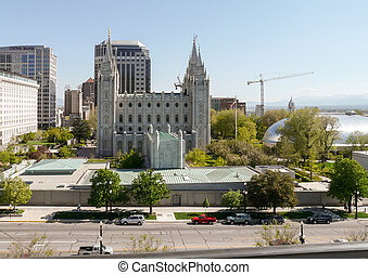 Temple Square with the Salt Lake Temple and Salt Lake...