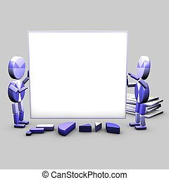 Presentation assitants - Two characters carry a white board...