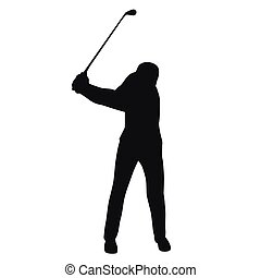 Golf swing, golf player isolated silhouette, vector golfer