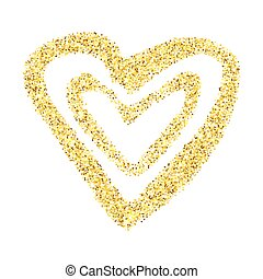 Gold glitter heart isolated over white background. Happy...