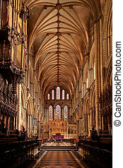 Ely Cathedral interior - Wide angle view of Ely Cathedral...