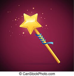 Magic Wand with Shining Star. Vector - Magic Wand with...