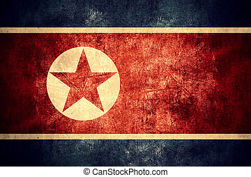 flag of North Korea or North Korean banner on rough pattern...