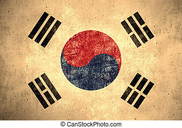 flag of South Korea or South Korean banner on rough pattern...