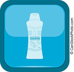 Shampoo bottle icon on a blue button, vector illustration
