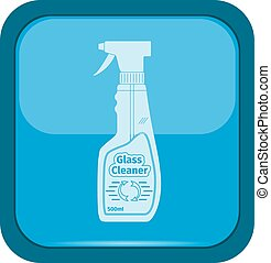 Glass cleaner icon on a blue button, vector illustration