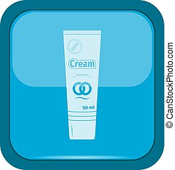 Cosmetic tube pack of Cream on a blue button