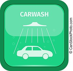 Carwash sign on a green buttom, vector illustration