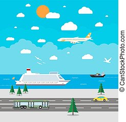 Various types of transport - background with various types...